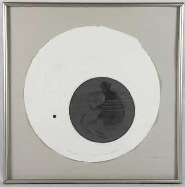 "Arlene Jo Mickelson, embossed etching, ""Life Circles,"""