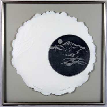 """Arlene Jo Mickelson, embossed etching, """"Snow Goose Moon,"""""""