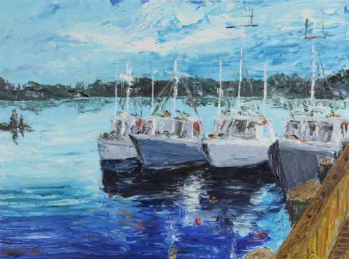 Hadley C. Pihl,  acrylic impressionistic landscape of boats