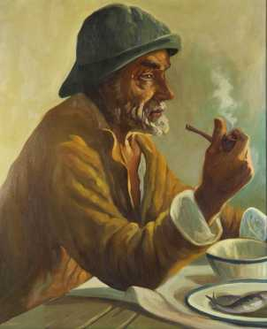 Mico Zayas, oil on canvas portrait of a fisherman