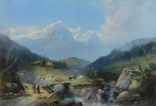 """Chromolithograph of """"The Well and Wetterhorn,"""" from Rosenlau"""