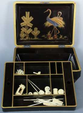 Chinese Lacquer Decorated Sewing Box