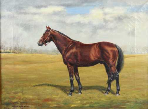 "Richard Stone Reeves,  oil on canvas of a horse identified as  ""Exceptional,"""