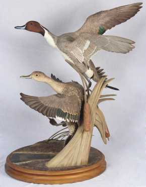 "Robert and Virginia Warfield,  ""North Winds, 1982"" depicting two pintail ducks taking off"