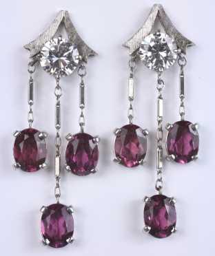 Pair of Diamond and Amethyst Earrings