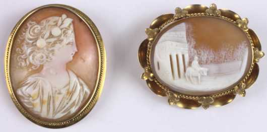 Two Shell Cameo Pins set in yellow gold