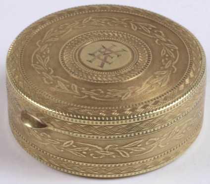 Round Yellow Gold Box marked 14K
