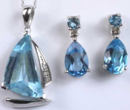 Blue Topaz Sailboat Lavaliere