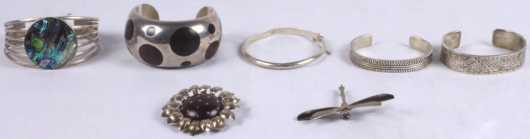 Five Silver and Sterling Silver Bracelets and Pins