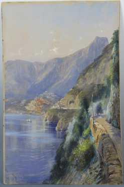 Thomas Moran mixed media/watercolor of a hilltop Italian village and coastal scene