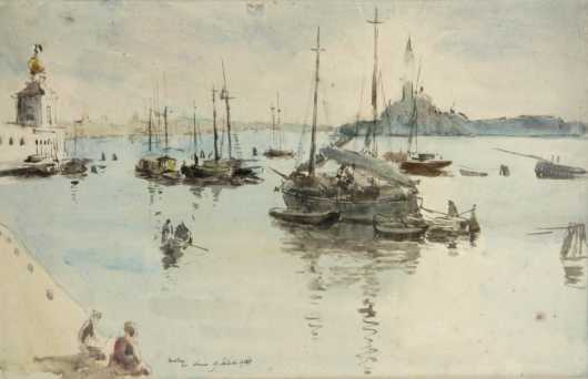 James McBey watercolor on paper seascape with boats