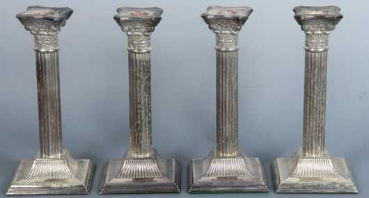 Set of Four Silver-plated Candlestick