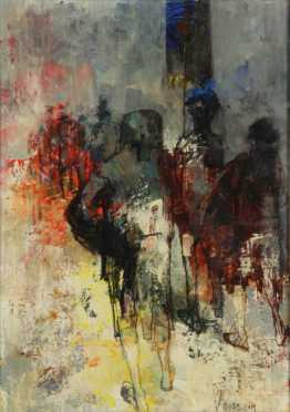 Jean Jansem Oil/Ink on canvas, impressionistic painting of matadors