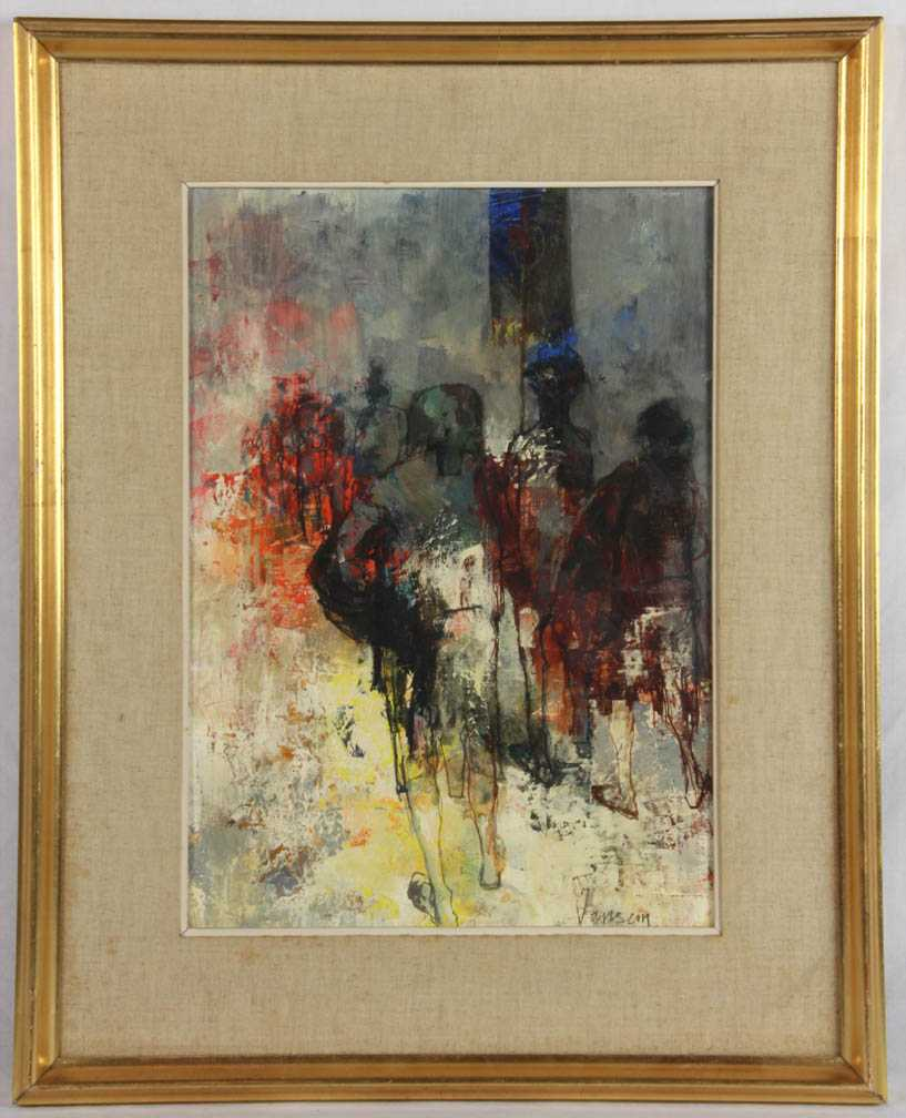 Jean Jansem Oil Ink On Canvas Impressionistic Painting Of