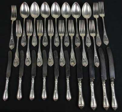 "Continental Partial Silver Service, most have hallmarks of ""MJ Ruchert, Germany"""