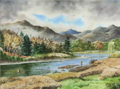 G. Connett Painting,  watercolor on paper of a man fly fishing