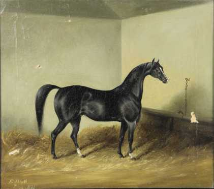 E. Blythe, 19th century, probably English, oil on canvas of a black race horse