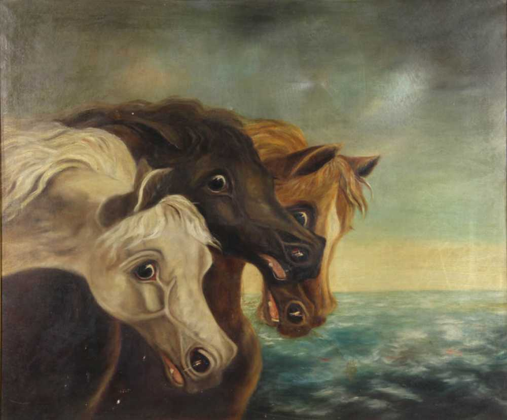 Early 20th Century Chincoteague Ponies Painting