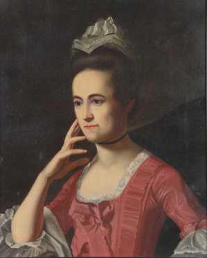School of Henry Pelham oil on canvas painting of Dorothy Quincy Hancock