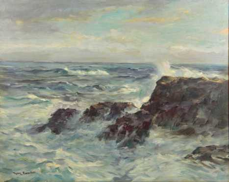 "Frank Vining Smith oil on board seascape of ""Cohasset Ledges,"""