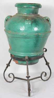 Continental Pottery Jar with Wrought Iron Stand