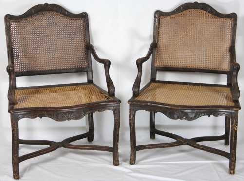 Pair of French Caned Armchairs