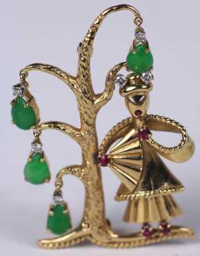 Oriental Form Figural Pin