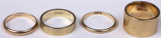Four Yellow Gold Wedding Rings