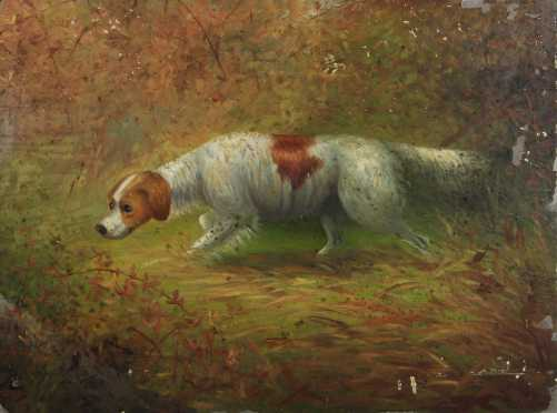 Gerald Rutgers Hardenberg,oil on artist board of a Brittany Spaniel at point