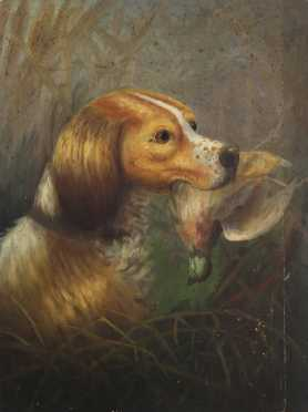 Gerald Rutgers Hardenberg Attributed, oil on board of a Brittany Spaniel retrieving a grouse