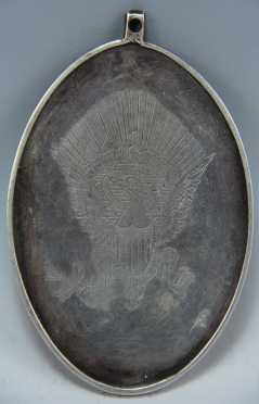 Coin Silver Commemorative Pendent, copy of a medal depicting George Washington with a Native American