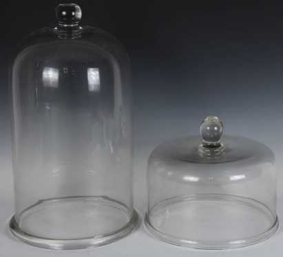 Two Blown Glass Food Covers
