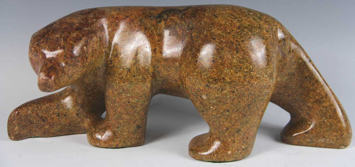 Inuit carved brown stone bear