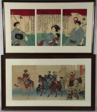 Japanese Triptych and Three Pages From A Japanese Block Printed Book