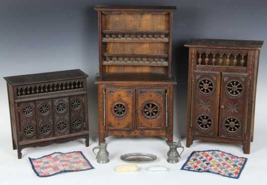 Three French Style Miniature Cupboards and Miscellaneous