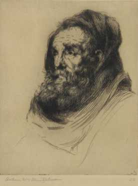 "Arthur William Heintzelman, original etching of, ""Head with black drape"""