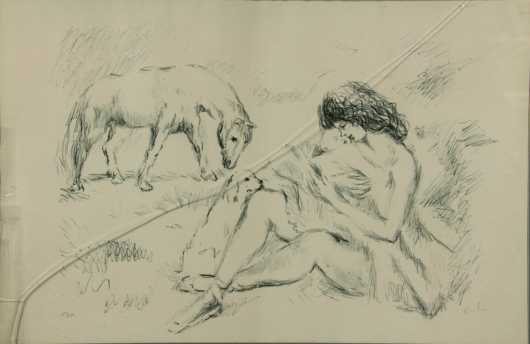 Marcel Vertres crayon on paper,  of a nude mother