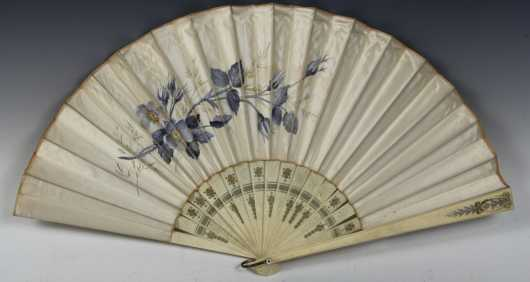 "French Decorated Fan, ""Faucon"" Paris gold embossed label"