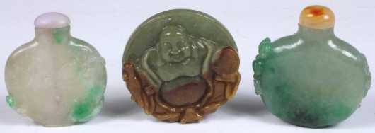 Two Chinese Jadeite Snuff Bottles and Pendent