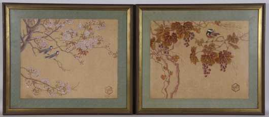 Pair of Chinese Watercolor Prints
