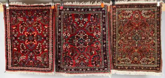 Three Sarouk Scatter Rugs
