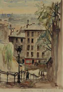 "Pierre Eugene Cambier,  watercolor on paper of, ""Montmartre-Rue du Calvarre,"""