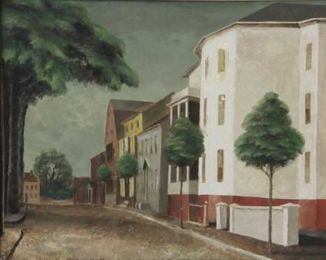 Frederick Rhodes Sisson,  oil on Masonite of a city street