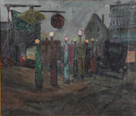 Frederick Rhodes Sisson,  oil on canvas  of a city street