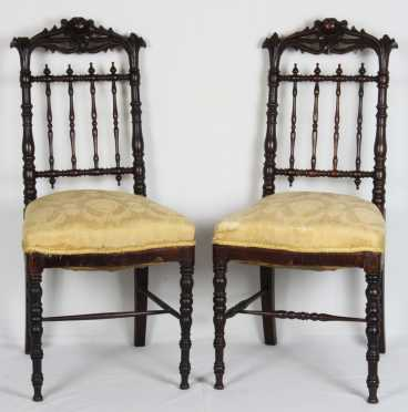 Pair of Gothic Ornate Side chairs