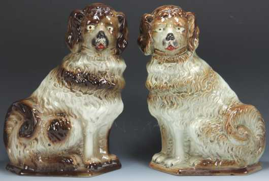 Lot of Two Staffordshire Style Poodles