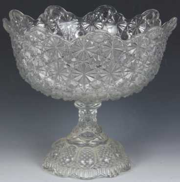 Daisy and Button Pattern Glass Compote