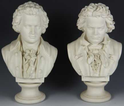 Two Bisque Busts of Mozart and Beethoven