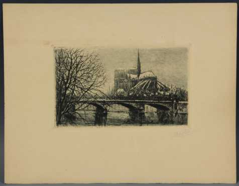 Etching of Notre Dame with Snow