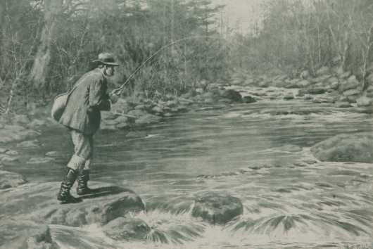 "A.B. Frost Lithograph, ""Fly Fisherman"""